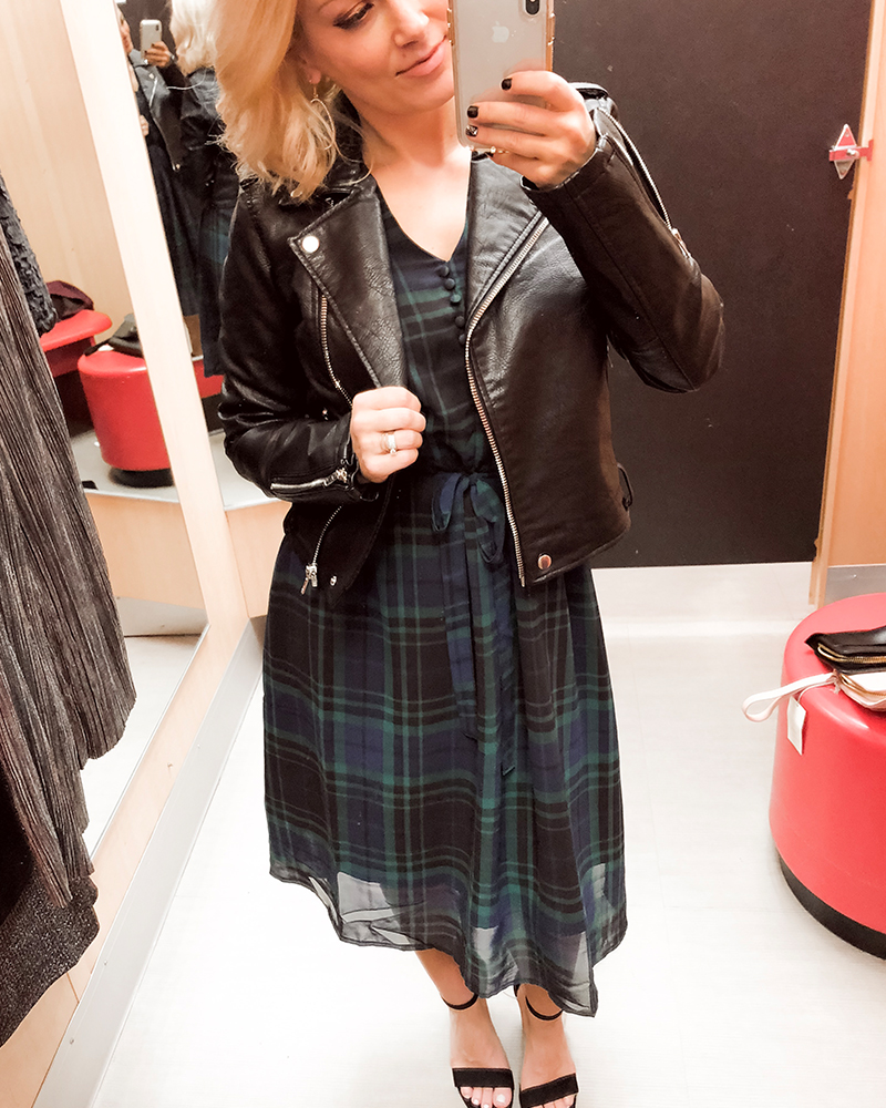 Target Holiday Party Women's Try on Haul blue plaid dress and leather jacket with Austin, TX beauty and style blogger, Kendra Stanton