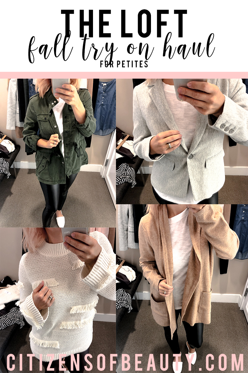 the loft fall clothing try on haul for petites lack cozy cardigans, sweaters, leggings, denim, jackets and more!