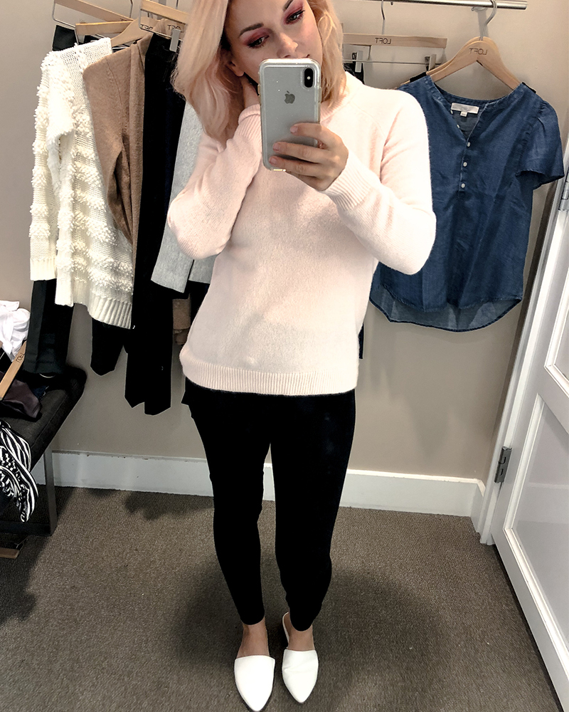the loft fall try on session for petite sizing pink sweater with keyhole back detail