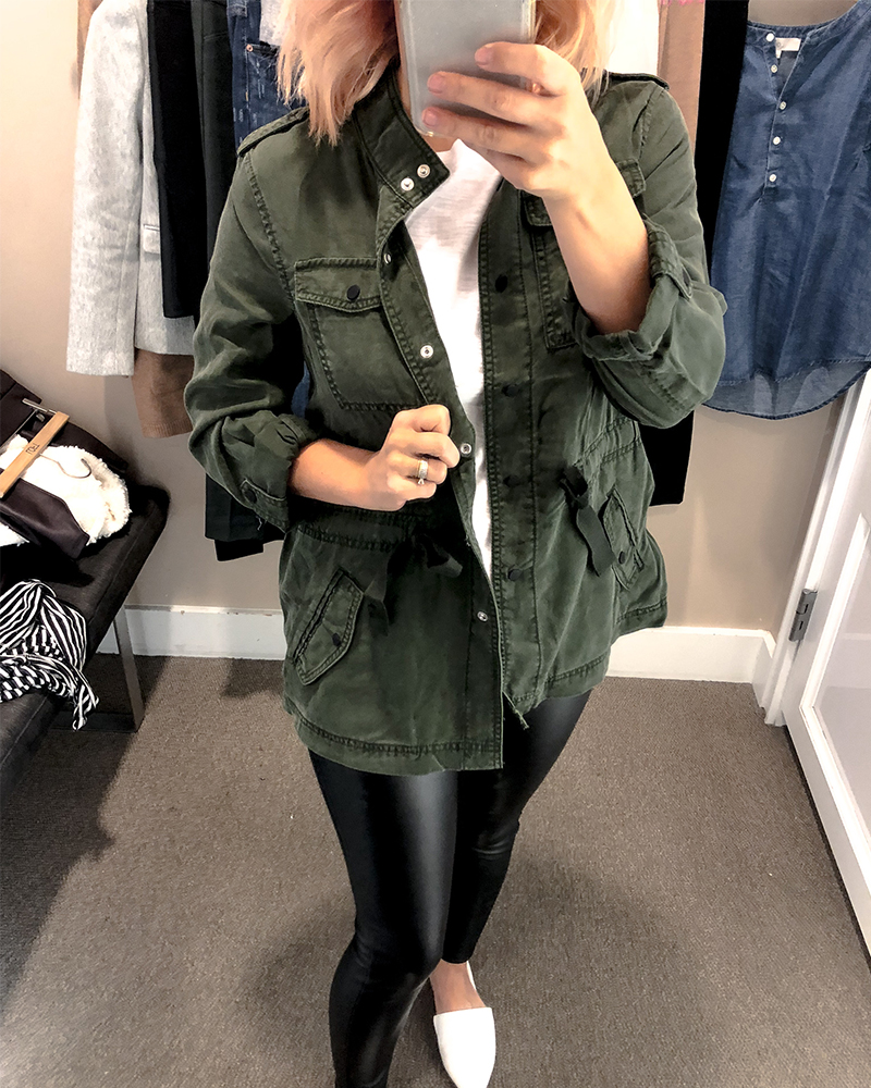 d916641bdfd the loft fall try on session for petite sizing green utility jacket and  faux black leather