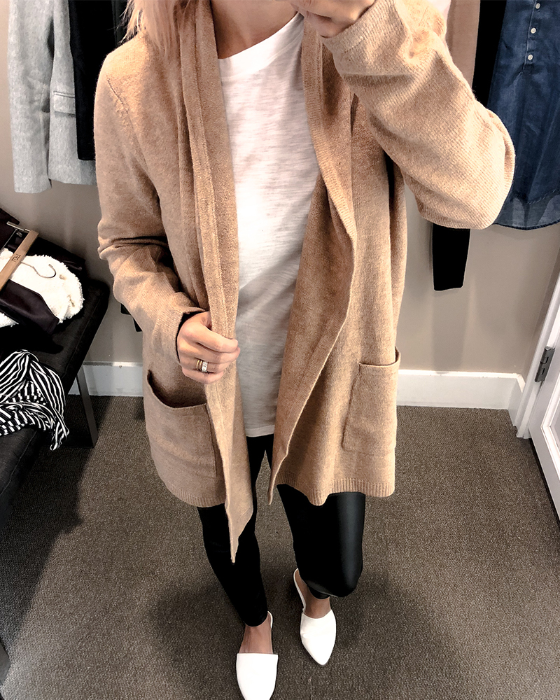 the loft fall try on session for petite sizing with faux leather leggings and a tan cardigan with white t-shirt.