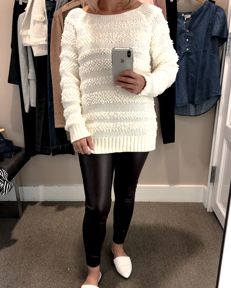 the loft fall try on session for petite sizing white sweater with fringe details