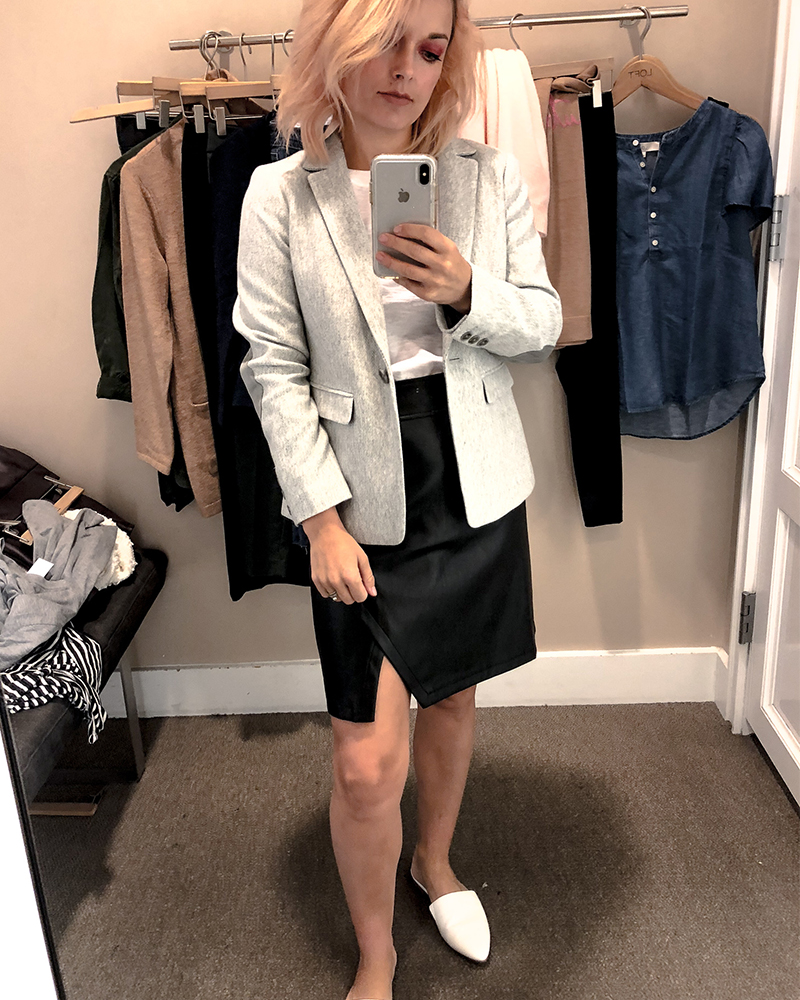 the loft fall try on session for petite sizing 7the loft fall try on session for petite sizing with faux leather skirt