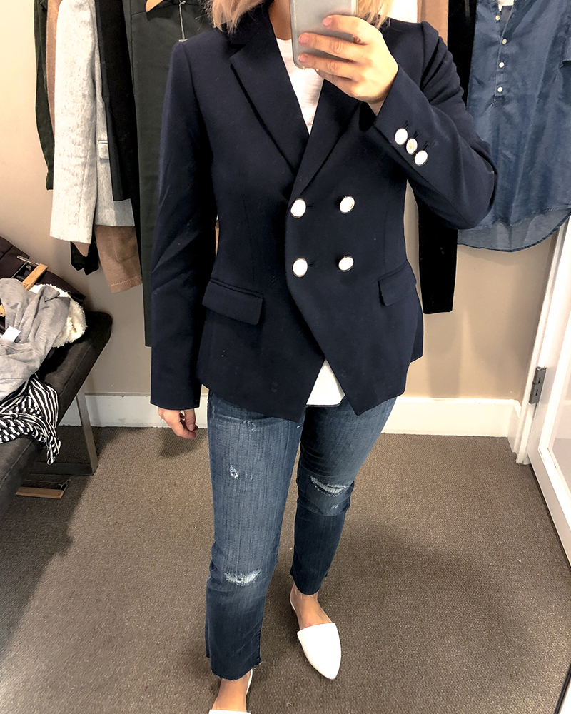 the loft fall try on session for petite sizing blazer jacket and petite denim jeans