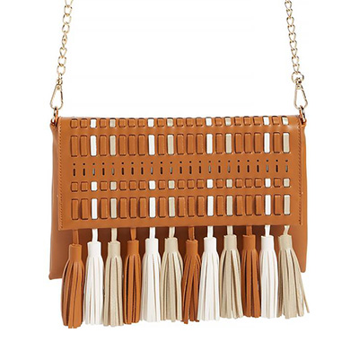 weaved crossbody bag with tassle and chain shoulder strap for summer handbag under $50