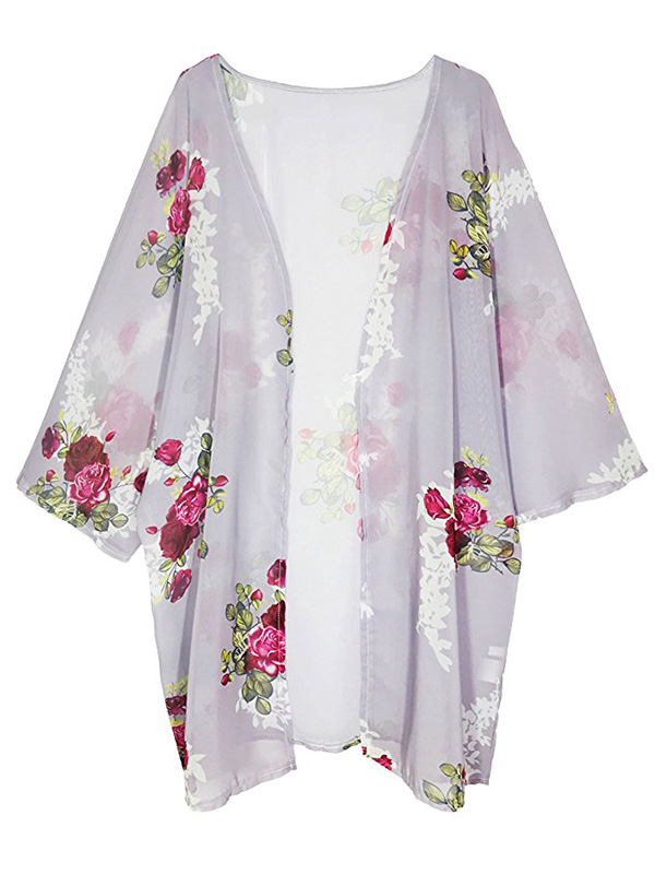 white and pink floral sheer kimono found on Amazon