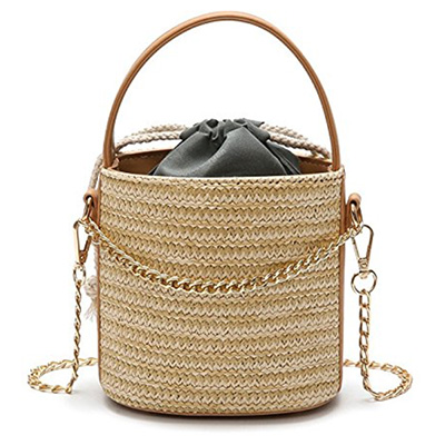 woven bucket bag with gold chain