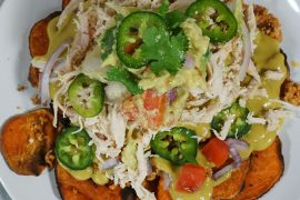 Yummy whole 30 nachos with chicken and a creamy chipotle sauce is all you need for you next game day.