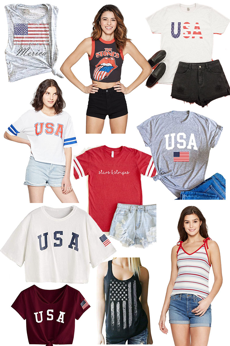 Here are tons of different womens 4th of July t-shirts and tanks that aren't cheezy! Celebrate and be patriotic in style!