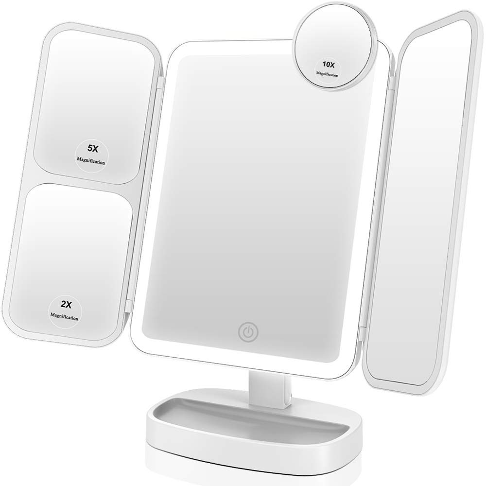 Light Up makeup mirror trim-fold on Amazon that has amazing lighting and helps perfect makeup.