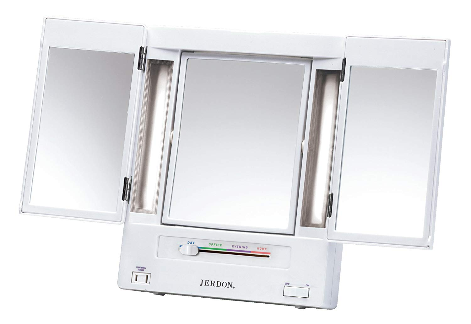 This trim-fold light up makeup mirror on Amazon has over 3,000 reviews and 4.9 stars!