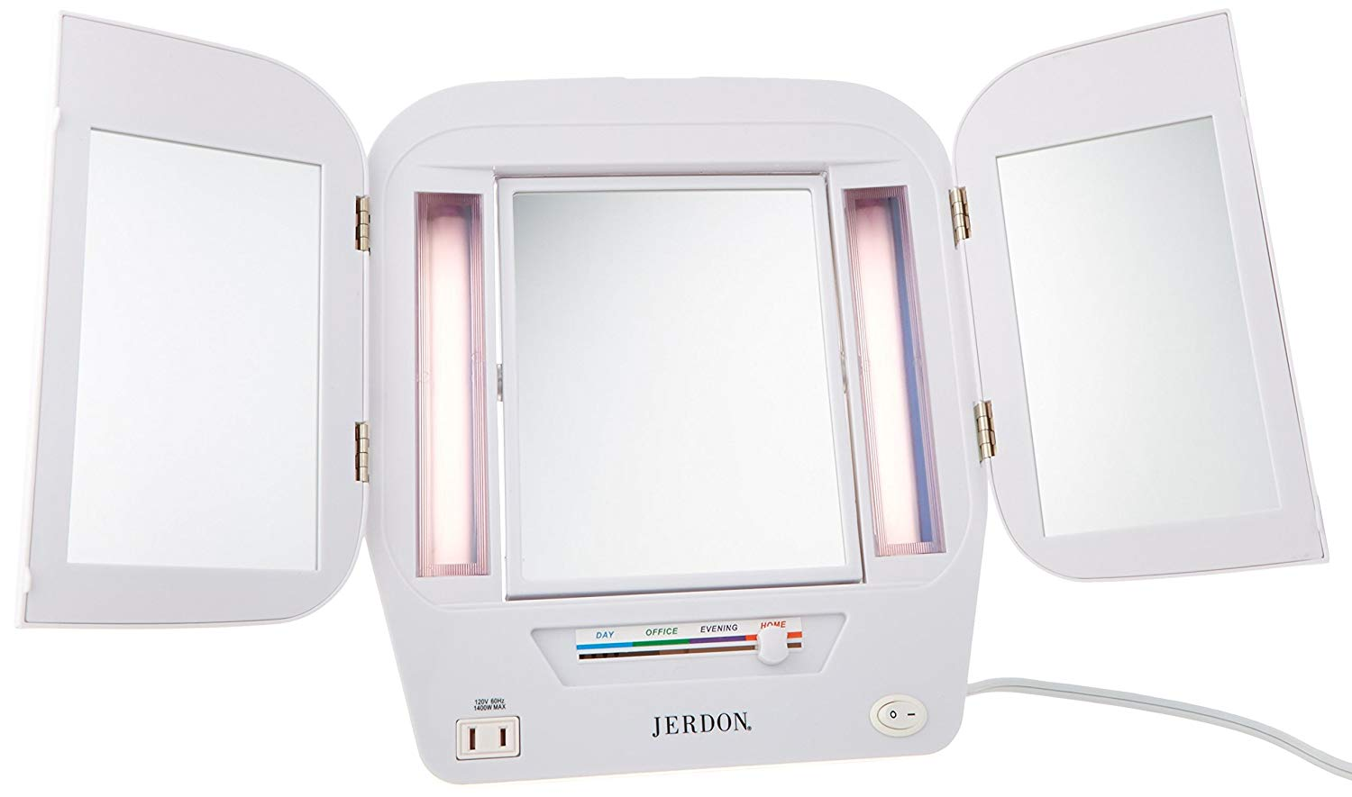 Jerdon Light up makeup mirror on Amazon is budget friendly and has over 2,000 reviews!