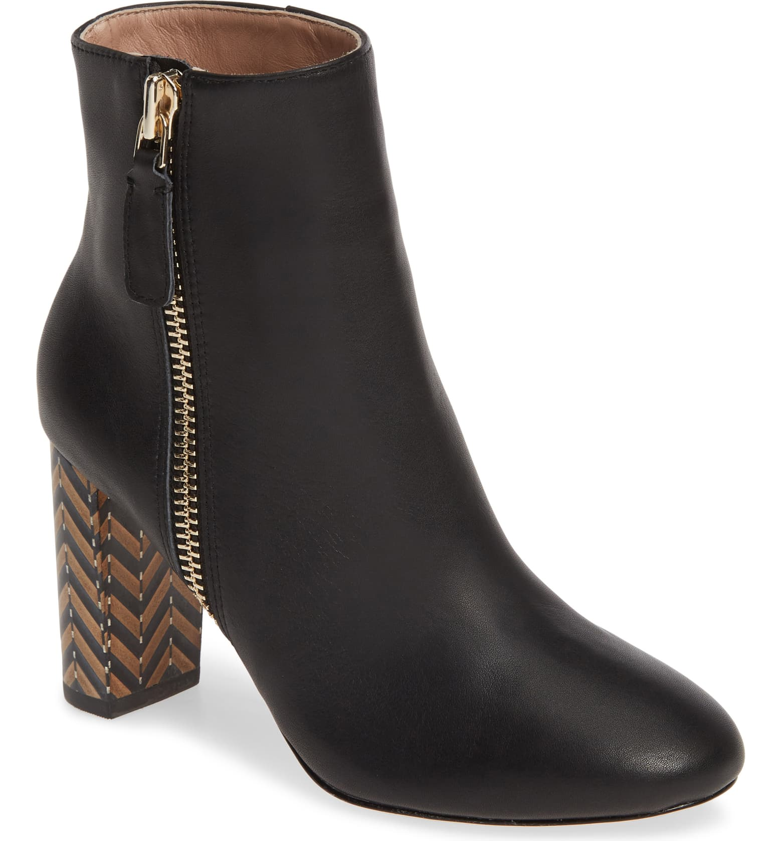 Delila Bootie for fall 2019 with a hint of pattern play on the heels.