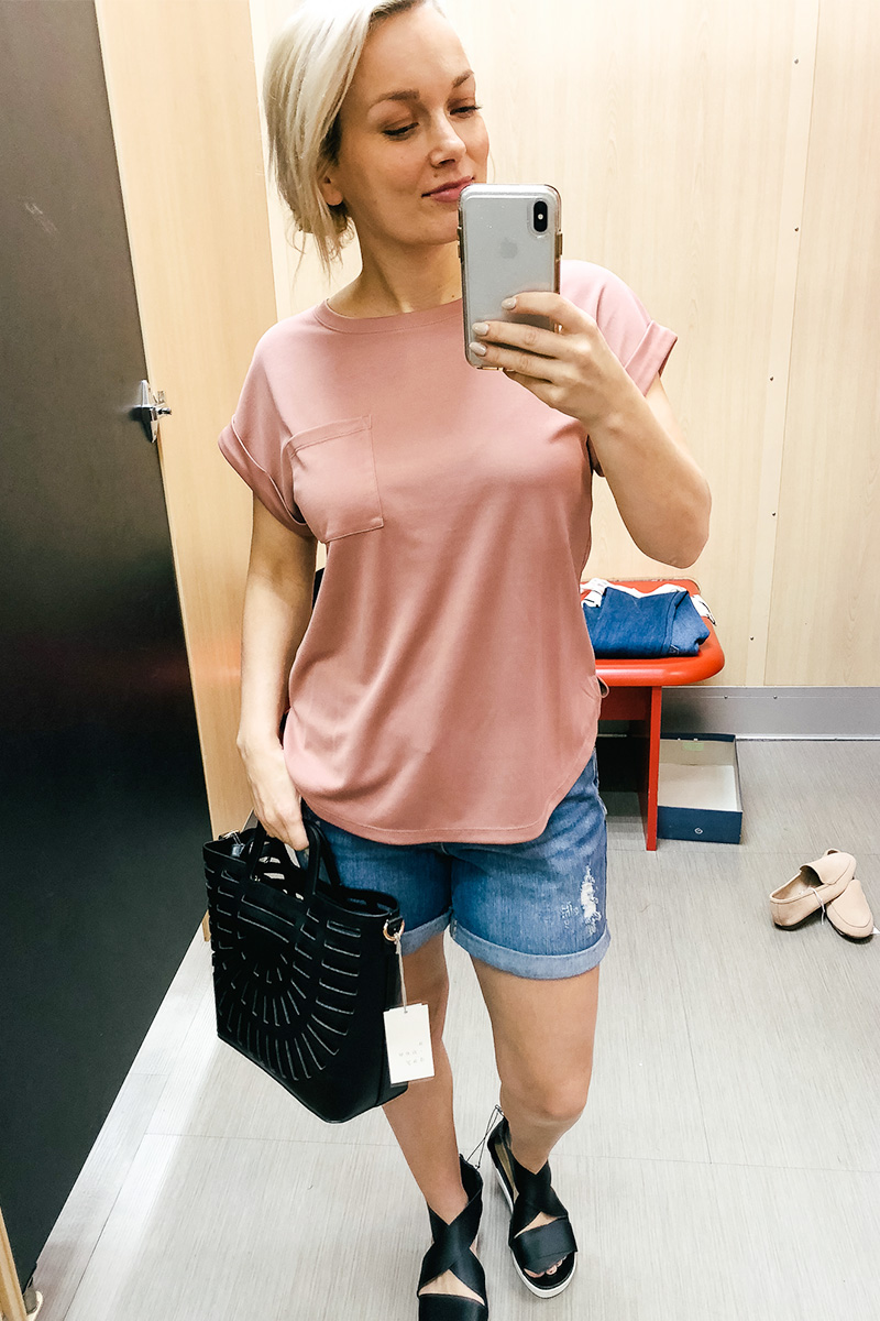 February Target Try on Haul with pink comfy shirt with Austin, TX style and beauty blogger, Kendra Stanton.