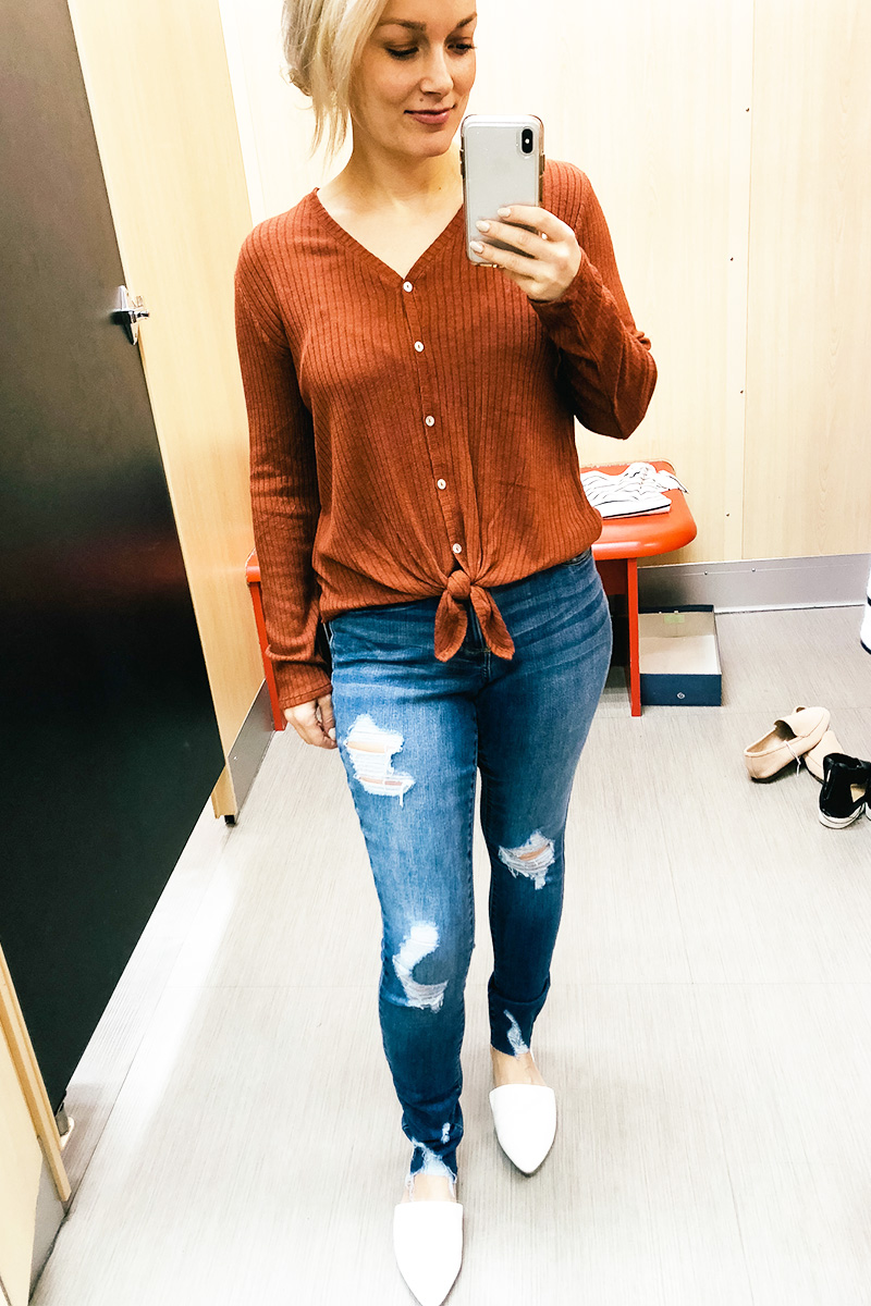 February Target Try on Haul universal threads ripped denim, wild and fable and more with Austin, TX style and beauty blogger, Kendra Stanton.