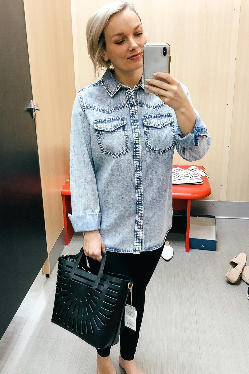 February Target Try on Haul universal threads jeans button up shirt, wild and fable and more with Austin, TX style and beauty blogger, Kendra Stanton.