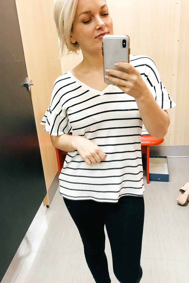February Target Try on Haul universal threads striped t-shirt with ruffle sleeves with black leggings and more with Austin, TX style and beauty blogger, Kendra Stanton.