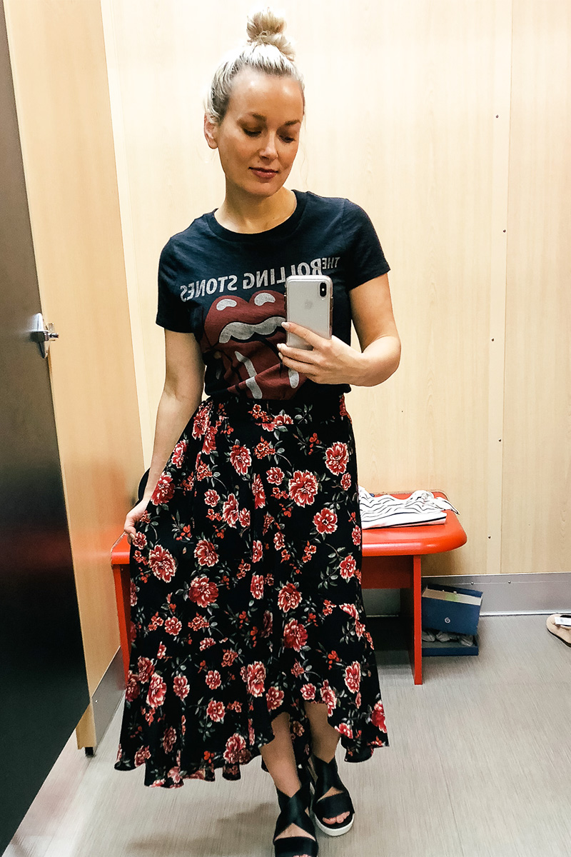February Target Try on Haul with wild and fable floral skirt and rolling stones band t-shirt with Austin, TX style and beauty blogger, Kendra Stanton.