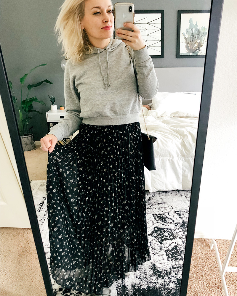 Austin, TX Beauty and Lifestyle blogger shows you different ways to style clothes from her March shopping haul with a boho floral dress and a hoodie!