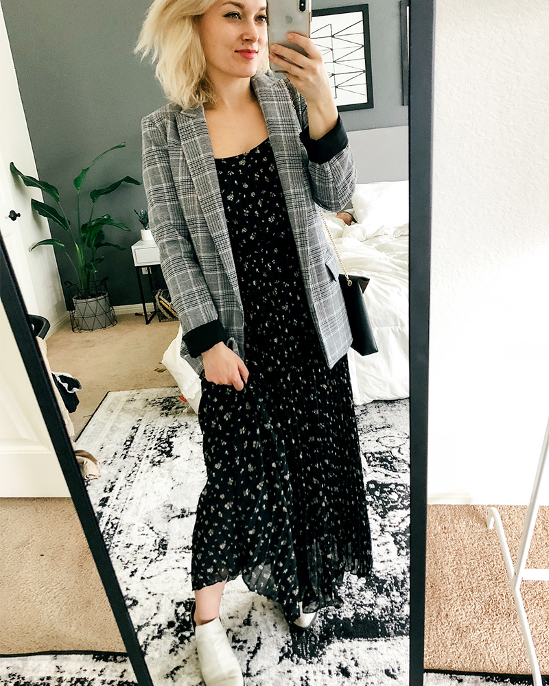 Austin, TX Beauty and Lifestyle blogger shows you different ways to style clothes from her March HnM Shopping Haul featuring Black maxi dress with floral design paired with a blazer.