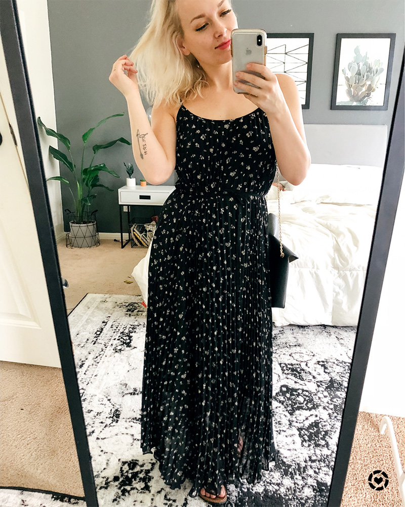 H&M Spring March shopping haul and outfit inspiration black maxi dress with floral print with beauty and lifestyle blogger, Kendra Stanton