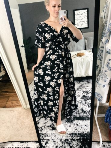 I love this long black floral boho dress from Amazon! It is a wrap dress that perfectly fits your body. Plus, it's a total steal of a price!