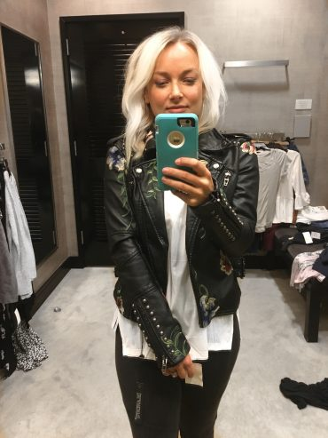 Nordstrom Anniversary Sale 2017 TopShop black leather jacket, madewell destroyed denim, plaid longsleeve shirt, state 1 shoes