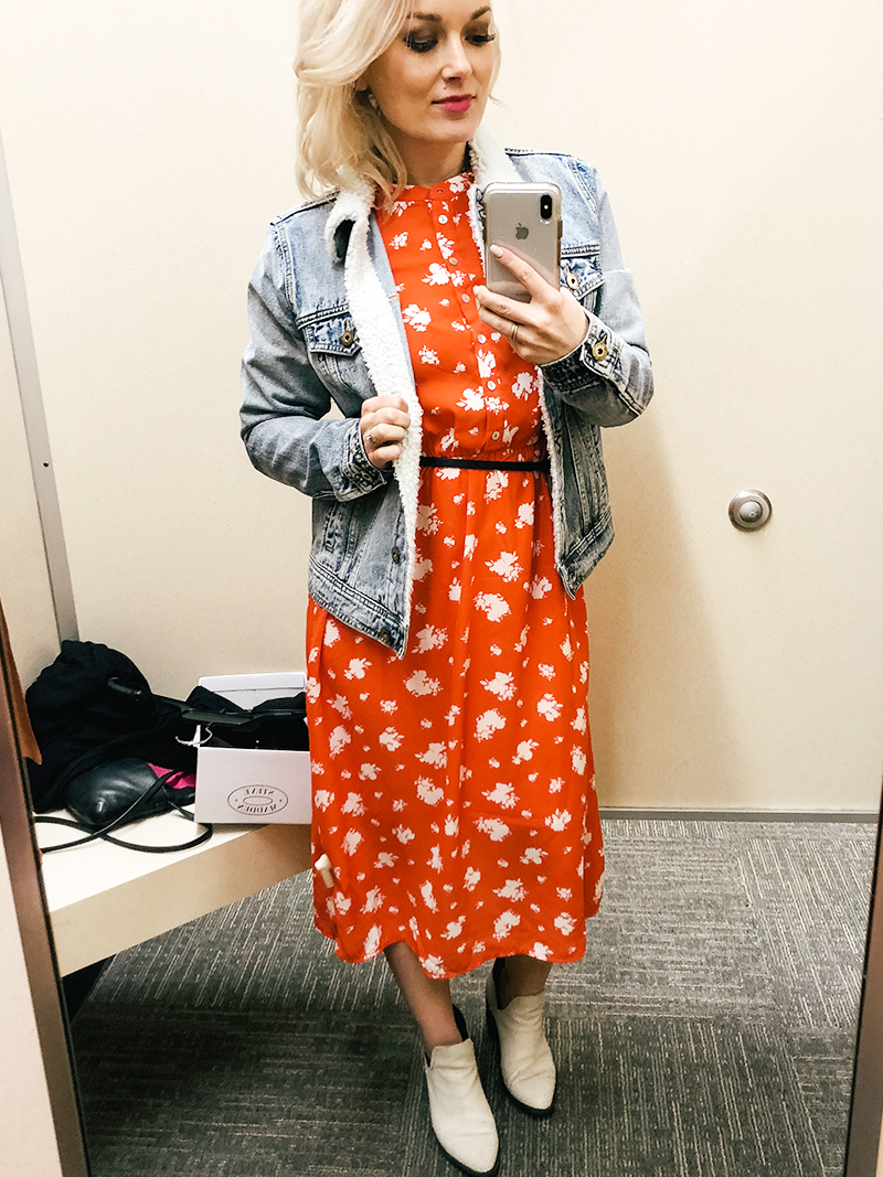 Red Bohemian long sleeve dress worn in Nordstrom Rack Try on Haul with style blogger, Kendra Stanton.
