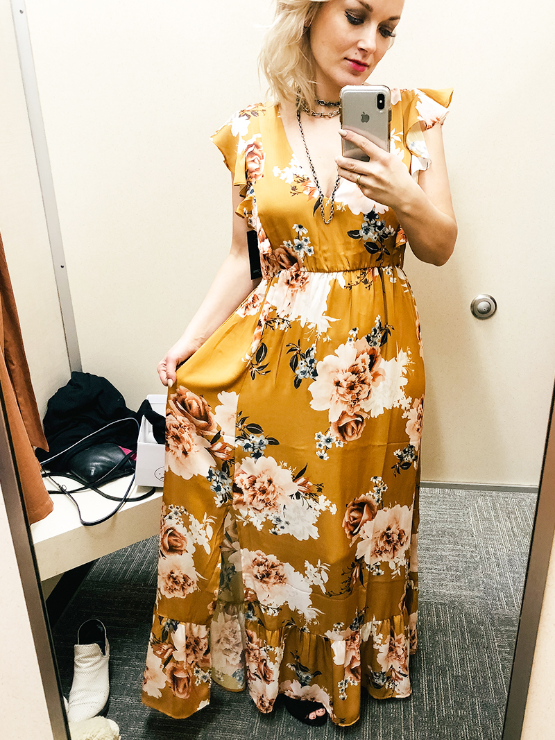 Yellow floral long boho dress for spring in this Nordstrom Rack Try on haul with style blogger, Kendra Stanton.
