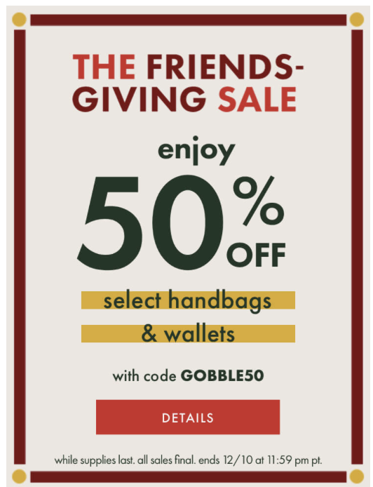 50% off select Kate Spade handbags and wallets