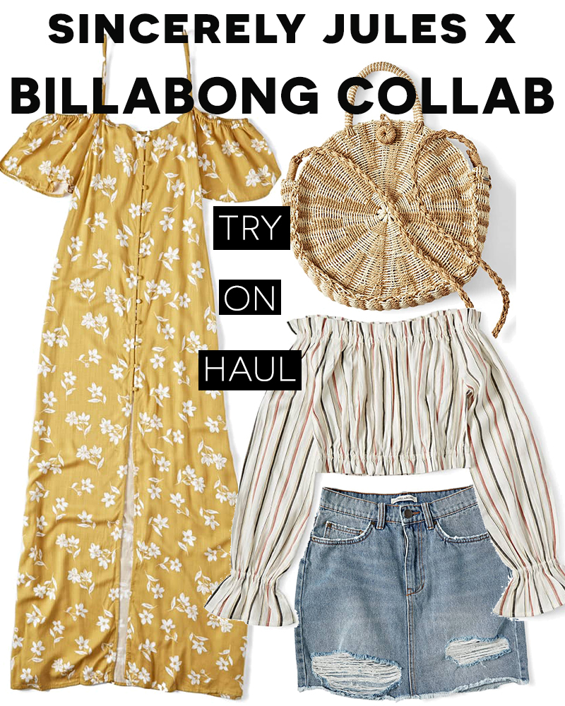 Sincerely Jules and Billabong try on haul with beauty and lifestyle blogger, Kendra Stanton.