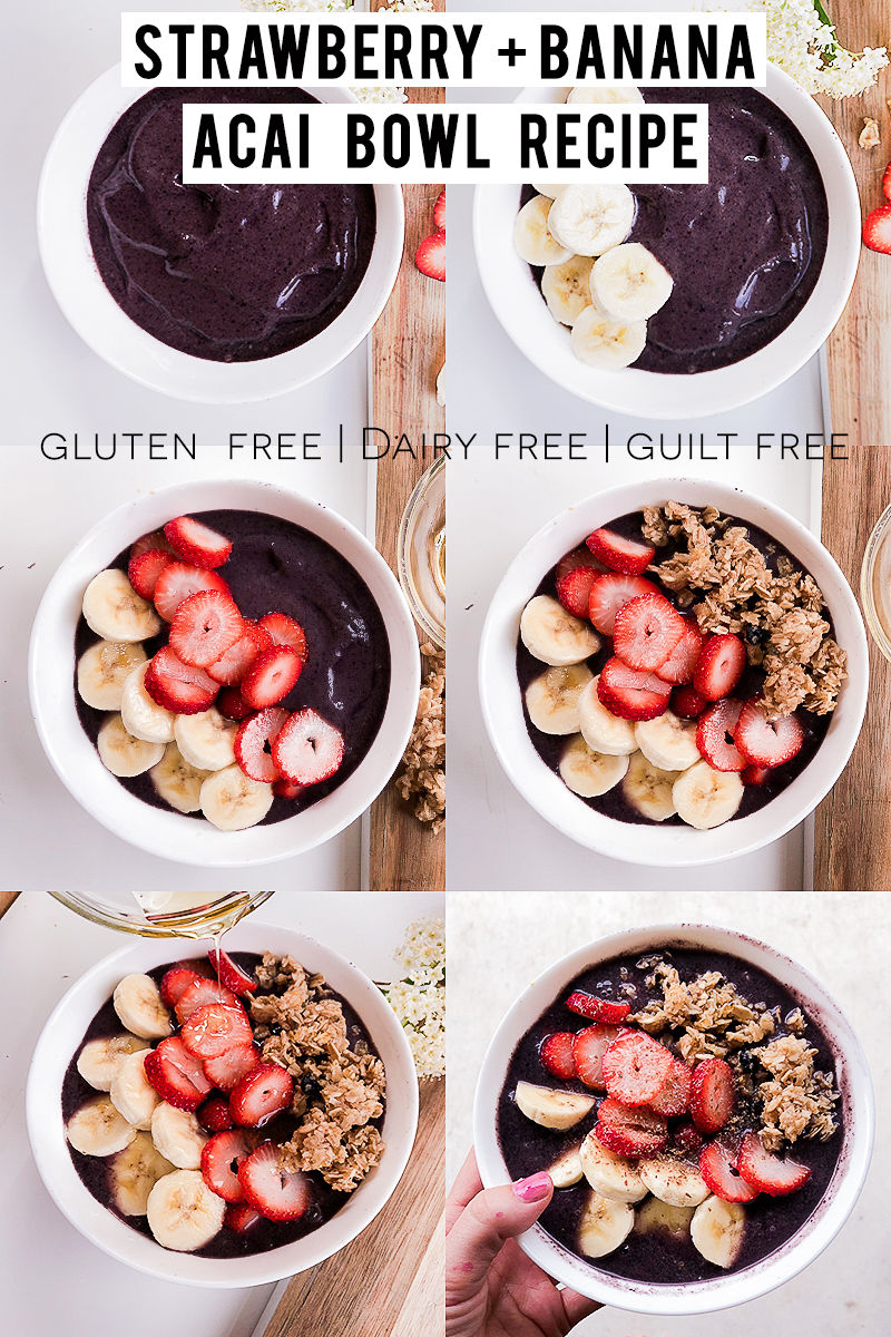 Make your own Acai Bowl that's gluten and dairy free with bananas and berries with beauty and lifestyle blogger, Kendra Stanton.