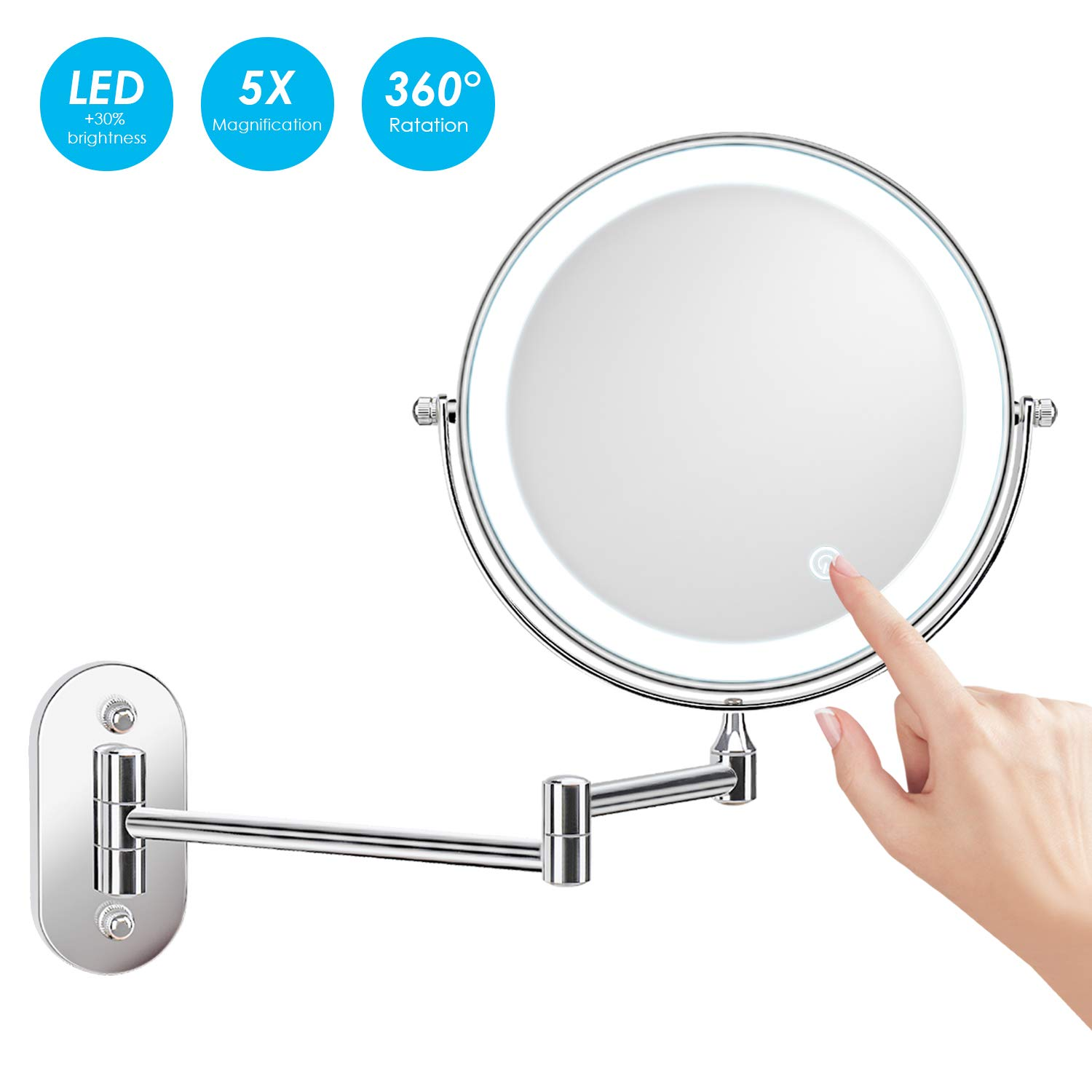 Top wall mounted makeup mirror on Amazon that is budget friendly.