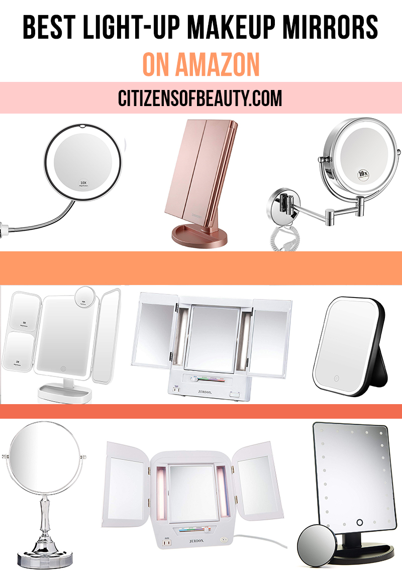Here are the top light up makeup mirrors with every option you need to perfect your makeup look, tweeze your brows and more. Check out try fold mirrors, compact, swivel, 5x magnification and more with beauty and lifestyle blogger, Kendra Stanton.