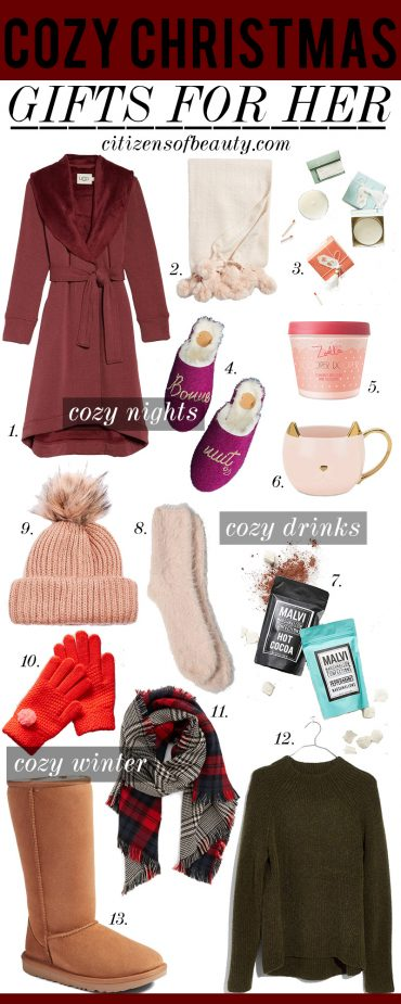 Cozy christmas gifts for her like bathrobes, knit hats, sweaters and bubble bath