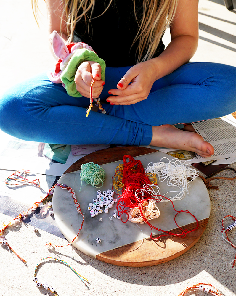 How to make DIY Boho beaded friendship bracelets for little girls with beauty and lifestyle blogger, Kendra Stanton.