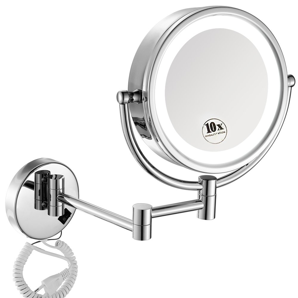 Check out this wall mounted light up makeup mirror on Amazon! It's got high rating and a 4.5 star review!