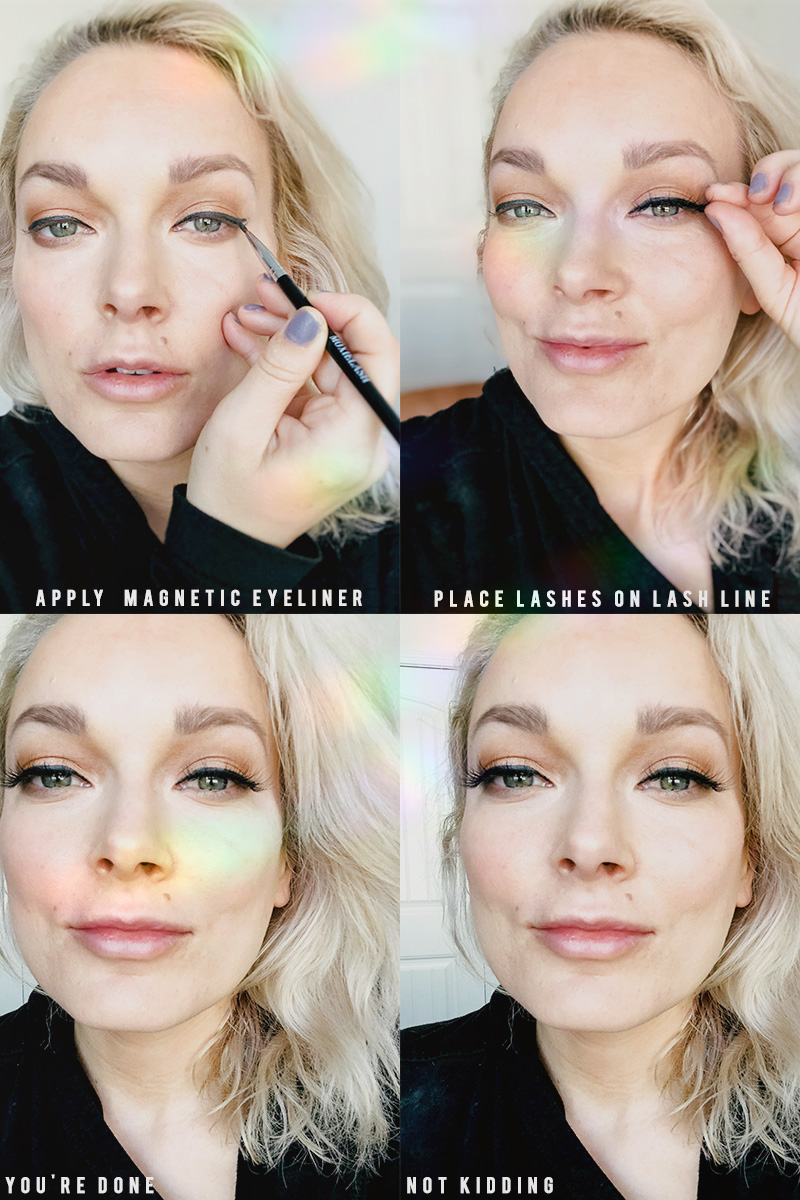Want gorgeous lashes in ten seconds? Learn how to apply magnetic eyeliner and lashes for full and natural looking lashes with beauty and lifestyle blogger, Kendra Stanton.