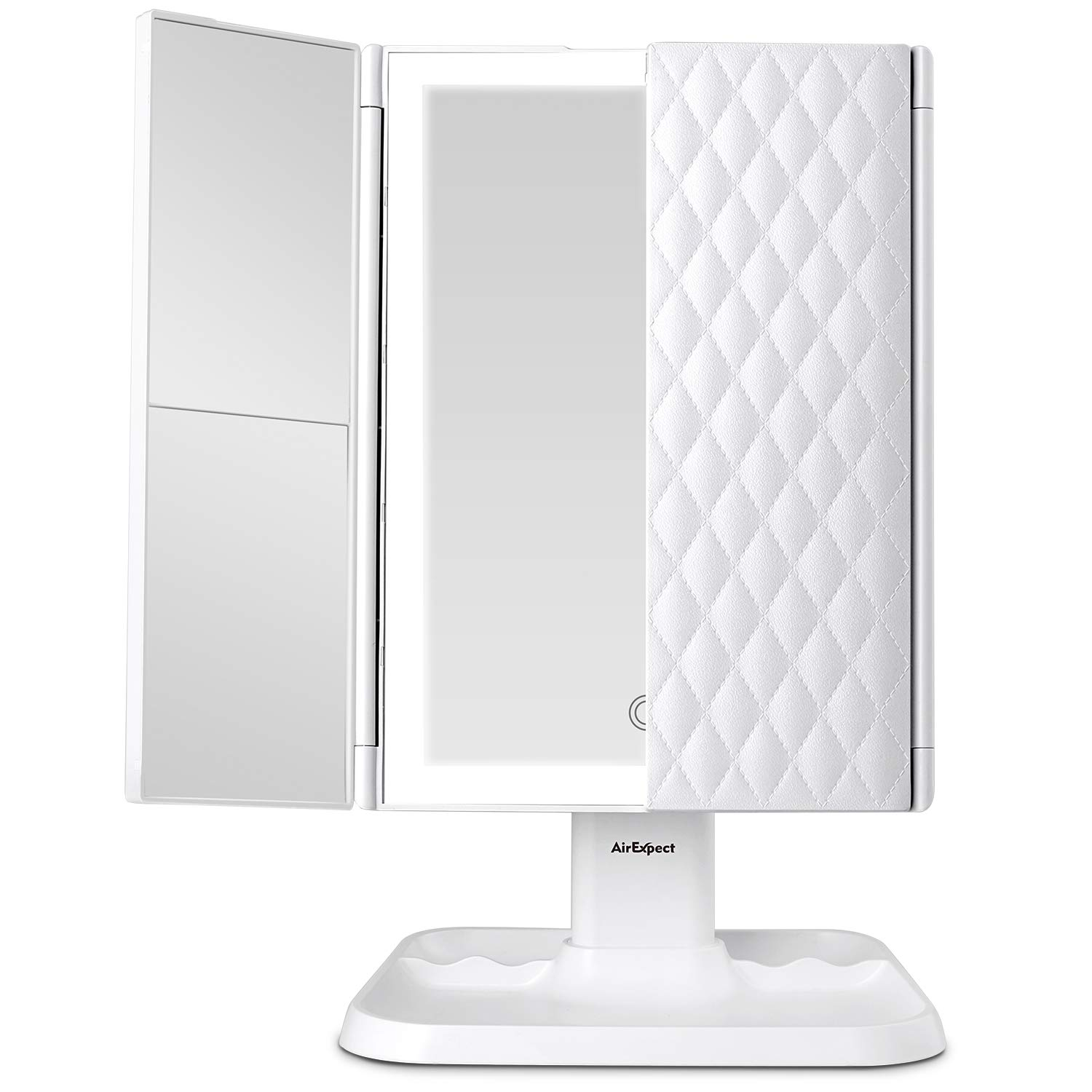 Here is this top rated trim-fold makeup mirror on Amazon with 3 levels of magnification and more!