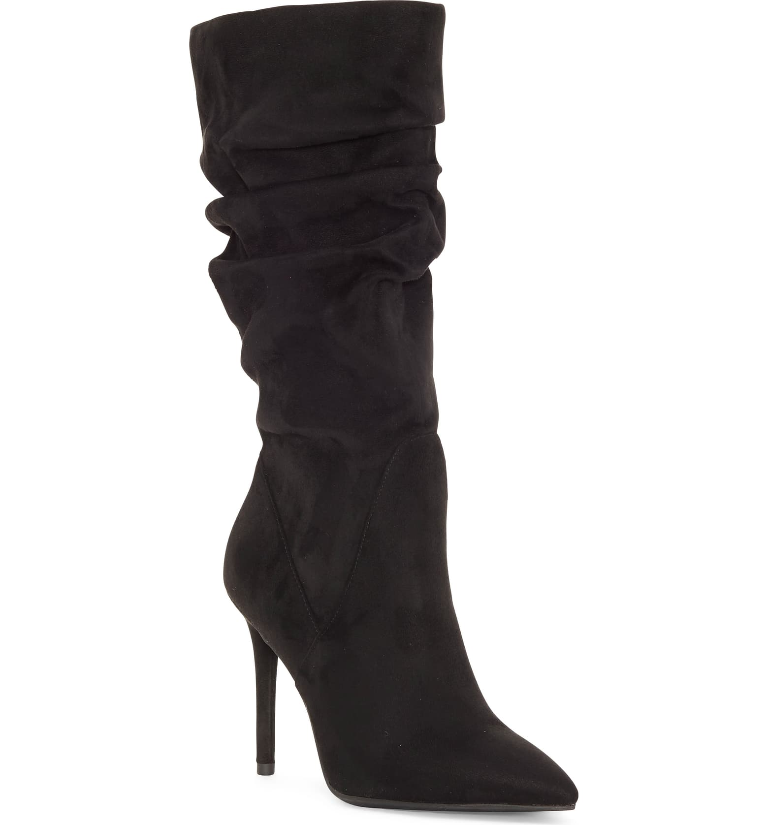 Slouchy mid calf boots are trending