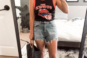 Target style summer outfit with Rolling Stones tank perfect for 4th of July outfit.