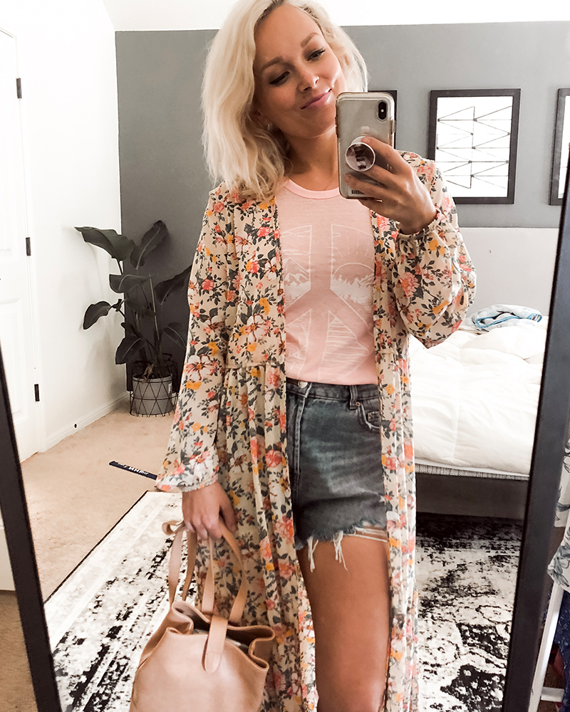 Target style summer outfit with floral kimono, denim shorts, and pink tank with style blogger, Kendra Stanton.